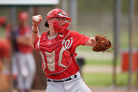 GCL Nationals catcher Alex Dunlap (27) warmup throw down to second base during the second game of a doubleheader against the GCL Marlins on July 23, 2017 at Roger Dean Stadium Complex in Jupiter, Florida.  GCL Nationals defeated the GCL Marlins 1-0.  (Mike Janes/Four Seam Images)