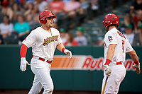 Memphis Redbirds first baseman Luke Voit (35) runs back to the dugout after hitting a home run in the bottom of the first inning during a game against the Round Rock Express on April 28, 2017 at AutoZone Park in Memphis, Tennessee.  Memphis defeated Round Rock 9-1.  (Mike Janes/Four Seam Images)