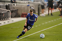SAN JOSE, CA - SEPTEMBER 13: Tommy Thompson #22 of the San Jose Earthquakes during warmups before a game between Los Angeles Galaxy and San Jose Earthquakes at Earthquakes Stadium on September 13, 2020 in San Jose, California.