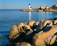 Morning light on the lighthouse at Annisquam Harbor; Ipswich Bay, MA