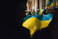 """Protestors with demands of European values in Ukraine. Square of Independence or """"Maidan Nezalezhnosti"""". Kiev. Ukraine. Thousands of people are continuing to express their support to european integration and protesting against decision of Ukrainian government to refuse signing of association with EU in Vilnius."""