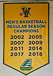 8 December 2018: A University of Vermont Men's Basketball Banner indicates Championships from 2002 to 2018 at Patrick Gymnasium in Burlington, Vermont. The America East Catamounts overcame a 10-point 2nd half deficit, to defeat the Ivy League Crimson 71-65 in NCAA Division I inter-league play. Mandatory Credit: Ed Wolfstein Photo *** RAW (NEF) Image File Available ***