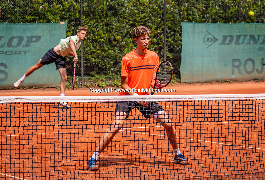 Hilversum, Netherlands, August 5, 2021, Tulip Tennis center, National Junior Tennis Championships 16 and 18 years, NJK, Boys Doubles 18 years, Stijn Paardekoper (NED)  (R) and Brian Bozemoj (NED)<br /> Photo: Tennisimages/Henk Koster