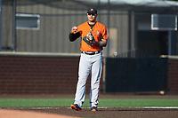 Frederick Keys third baseman Jomar Reyes (13) on defense against the Buies Creek Astros at Jim Perry Stadium on April 28, 2018 in Buies Creek, North Carolina. The Astros defeated the Keys 9-4.  (Brian Westerholt/Four Seam Images)