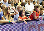 Spain's Juan Carlos Navarro receives the homage of his wife and daughters on his two hundred international matches during friendly match.July 24,2012. (ALTERPHOTOS/Acero)