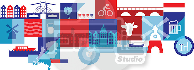 Illustrative collage representing city life in Amsterdam, Holland, Netherlands