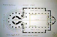 Plan of All Souls Church, Langham Place, London. Designed by John Nash. Evangelical Anglican church at the north end of Regent Street. Regency style consecrated in 1824.