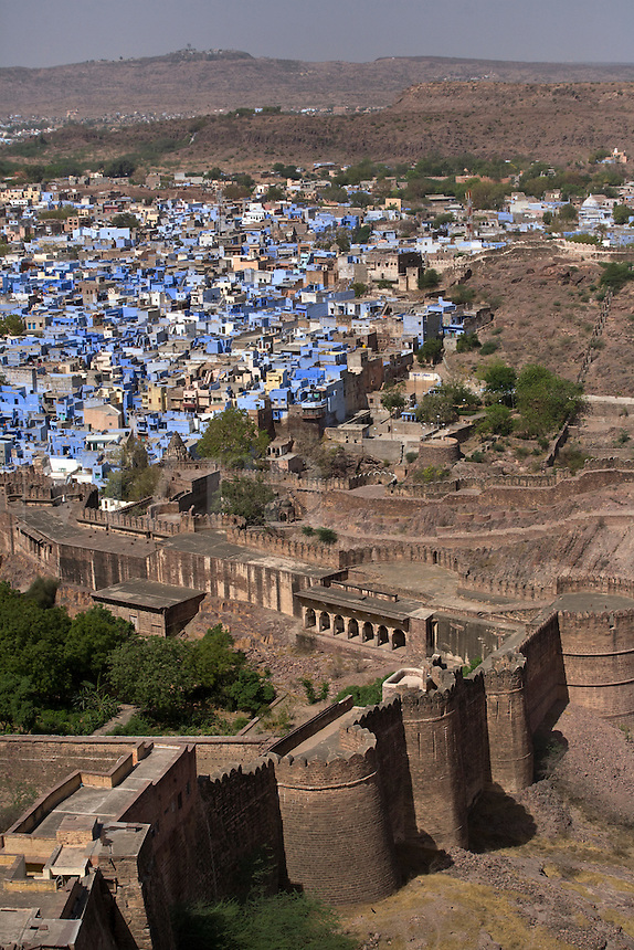 The MEHERANGARH FORT built by Maharaja Man Singh in 1806 with the BLUE CITY of JOHDPUR below - RAJASTHAN, INDIA