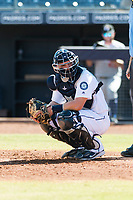 Peoria Javelinas catcher Joe DeCarlo (4), of the Seattle Mariners organization, during an Arizona Fall League game against the Glendale Desert Dogs at Peoria Sports Complex on October 22, 2018 in Peoria, Arizona. Glendale defeated Peoria 6-2. (Zachary Lucy/Four Seam Images)