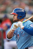 Buffalo Bisons first baseman Rowdy Tellez (21) on deck during a game against the Pawtucket Red Sox on May 19, 2017 at Coca-Cola Field in Buffalo, New York.  Buffalo defeated Pawtucket 7-5 in thirteen innings.  (Mike Janes/Four Seam Images)