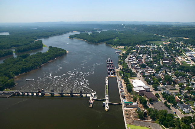 Dam on Mississippi River at Guttenberg, Iowa. Aerial view south