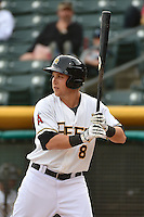 Taylor Lindsey (8) of the Salt Lake Bees at bat against the Albuquerque Isotopes at Smith's Ballpark on April 21, 2014 in Salt Lake City, Utah.  (Stephen Smith/Four Seam Images)