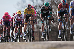 The peloton including race leader Maximilian Schachmann (GER) Bora-Hansgrohe during Stage 6 of the 78th edition of Paris-Nice 2020, running 161.5km from Sorgues to Apt, France. 13th March 2020.<br /> Picture: ASO/Fabien Boukla | Cyclefile<br /> All photos usage must carry mandatory copyright credit (© Cyclefile | ASO/Fabien Boukla)