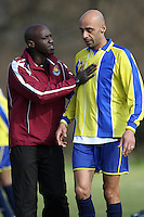 The Athletico Angels manager speaks to one of his players during a Hackney & Leyton Sunday League match at Hackney Marshes - 24/02/08 - MANDATORY CREDIT: Gavin Ellis/TGSPHOTO - Self billing applies where appropriate - Tel: 0845 094 6026