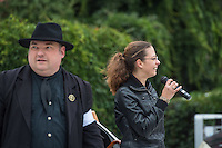 """Rechte demonstrieren in Bautzen gegen Fluechtlinge.<br /> Am Sonntag den 18. September 2016 versammelten sich im saechsischen Bautzen ca. 120 Rechte zu einem Kundgebung mit anschliessender Demonstration um gegen Fluechtlinge zu demonstrieren. Sie riefen Parolen gegen Fluechtlinge und gegen Angela Merkel und beschimpften Medienvertreter als """"Volksverraeter"""".<br /> Nach Aussagen von Anwohnern waren nur etwa 15 Teilnehmer aus Bautzen. Bautzener Rechtsextreme hatten zuvor aufgerufen, sich vorerst nicht an Demonstrationen zu beteiligen, bis ein von ihnen an die Stadtverwaltung gestelltes Ultimatum, zu Loesung der Fluechtlingsfrage verstrichen ist.<br /> Im Bild vlnr.: Der Dresdner """"Pegida-Anwalt"""" Jens Lorek und Ester Seitz aus Bayern, Anmelderin der Veranstaltung. <br /> 18.9.2016, Bautzen/Sachsen<br /> Copyright: Christian-Ditsch.de<br /> [Inhaltsveraendernde Manipulation des Fotos nur nach ausdruecklicher Genehmigung des Fotografen. Vereinbarungen ueber Abtretung von Persoenlichkeitsrechten/Model Release der abgebildeten Person/Personen liegen nicht vor. NO MODEL RELEASE! Nur fuer Redaktionelle Zwecke. Don't publish without copyright Christian-Ditsch.de, Veroeffentlichung nur mit Fotografennennung, sowie gegen Honorar, MwSt. und Beleg. Konto: I N G - D i B a, IBAN DE58500105175400192269, BIC INGDDEFFXXX, Kontakt: post@christian-ditsch.de<br /> Bei der Bearbeitung der Dateiinformationen darf die Urheberkennzeichnung in den EXIF- und  IPTC-Daten nicht entfernt werden, diese sind in digitalen Medien nach §95c UrhG rechtlich geschuetzt. Der Urhebervermerk wird gemaess §13 UrhG verlangt.]"""