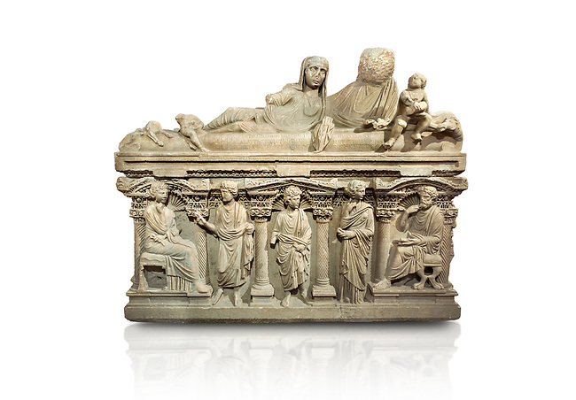 """Roman relief sculpted sarcophagus of Aurelia Botiano and Demetria depicted reclining on the lid, 2nd century AD, Perge Inv 1.35.99. Antalya Archaeology Museum, Turkey.<br /> <br /> it is from the group of tombs classified as. """"Columned Sarcophagi of Asia Minor"""". The lid of the sarcophagus is sculpted into the form of a """"Kline"""" style Roman couch on which lie Julianus &  Philiska. This type of Sarcophagus is also known as a Sydemara Type of Tomb.. Against a white background."""