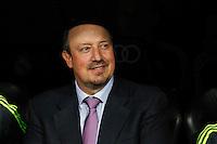 Real Madrid´s coach Rafa Benitez during Santiago Bernabeu Trophy match at Santiago Bernabeu stadium in Madrid, Spain. August 18, 2015. (ALTERPHOTOS/Victor Blanco)