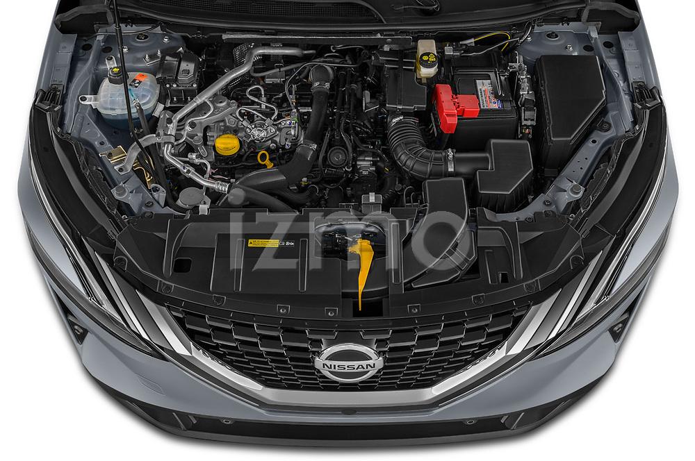 Car Stock 2022 Nissan Qashqai N-Connecta 5 Door SUV Engine  high angle detail view