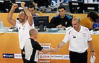 "Spain`s national basketball team head coach Juan Orenga (L) celebrate after European basketball championship ""Eurobasket 2013"" quarter-final basketball game between Serbia and Spain in Stozice Arena in Ljubljana, Slovenia, on September 18. 2013. (credit: Pedja Milosavljevic  / thepedja@gmail.com / +381641260959)"