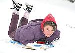 Ellen Mc Grath having fun in the snow at Woodstock View in Ennis. Photograph by John Kelly.