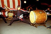 Taiko drummer at Bon Festival at Hongwanji Temple in Kealakekua, Kona, Hawaii.