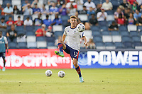 KANSAS CITY, KS - JULY 15: Matthew Hoppe #13 of the United States warming up before a game between Martinique and USMNT at Children's Mercy Park on July 15, 2021 in Kansas City, Kansas.