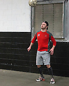 Danny O'Regan (BU - 10) - The Boston University Terriers warmed up prior to the Frozen Four final at TD Garden on Saturday, April 11, 2015, in Boston, Massachusetts.
