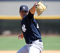 March 26, 2010:  Pitcher Manny Barreda of the New York Yankees organization during Spring Training at the Yankees Minor League Complex in Tampa, FL.  Photo By Mike Janes/Four Seam Images