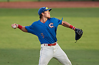 Clearwater Threshers right fielder Kevin Markham (5) throws from the outfield during a game against the St. Lucie Mets on August 11, 2018 at Spectrum Field in Clearwater, Florida.  St. Lucie defeated Clearwater 11-0.  (Mike Janes/Four Seam Images)