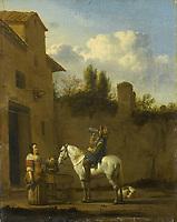 Drinking trumpeter on horseback - by Karel Dujardin, 1650 - 1660