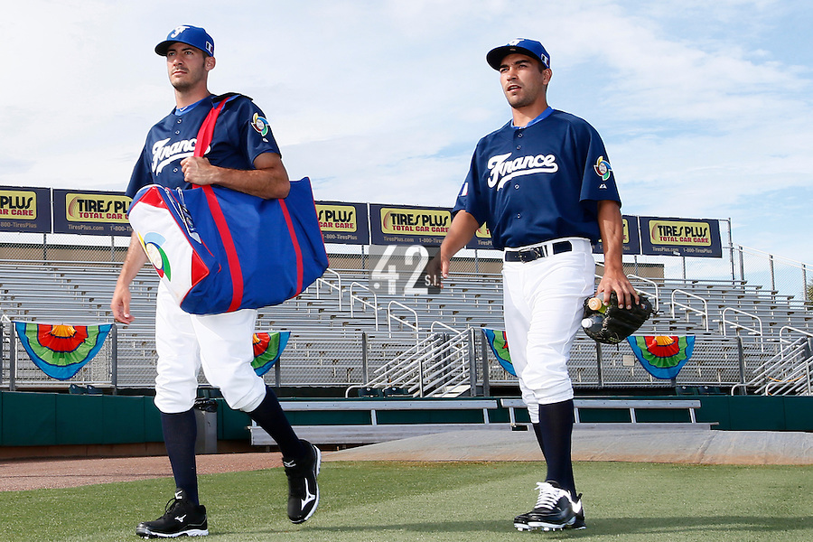 20 September 2012: Matthieu Brelle-Andrade and Thomas Meley arrive on the field prior to Spain 8-0 win over France, at the 2012 World Baseball Classic Qualifier round, in Jupiter, Florida, USA.