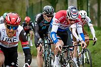 Mathieu Van der Poel (NED/Alpecin-Fenix) up the Molenberg<br /> <br /> 105th Ronde van Vlaanderen 2021 (MEN1.UWT)<br /> <br /> 1 day race from Antwerp to Oudenaarde (BEL/264km) <br /> <br /> ©kramon
