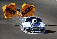 Oct. 15, 2011; Chandler, AZ, USA; NHRA pro stock driver Allen Johnson during qualifying at the Arizona Nationals at Firebird International Raceway. Mandatory Credit: Mark J. Rebilas-