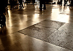 Walking on the ancient marble stones of the Pantheon in Rome