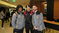 Photo: Richard Lane/Richard Lane Photography. Toulouse v Wasps.  European Rugby Champions Cup. 15/12/2018. Wasps' Ashley Johnson (lt) and Willie Le Roux (rt) with Zane Kirchner of Dragons at Birmingham Airport ahead of flying two their European Rugby destinations.