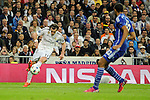 Real Madrid´s Gareth Bale and FC Shalke 04´s Joel Matip during 2014-15 Champions League match between Real Madrid and FC Shalke 04 at Santiago Bernabeu stadium in Madrid, Spain. March 10, 2015. (ALTERPHOTOS/Luis Fernandez)
