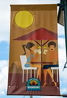Ft. Lauderdale, Florida.  Las Olas Riverfront Banner, New River.