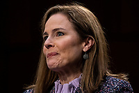 Judge Amy Coney Barrett speaks during the third day of her Senate confirmation hearing to the Supreme Court on Capitol Hill in Washington, DC on October 14, 2020.<br /> CAP/MPI/RS<br /> ©RS/MPI/Capital Pictures
