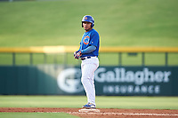 AZL Cubs 1 Ervis Marchan (21) stands on second base after hitting a double during an Arizona League game against the AZL D-backs on July 25, 2019 at Sloan Park in Mesa, Arizona. The AZL D-backs defeated the AZL Cubs 1 3-2. (Zachary Lucy/Four Seam Images)