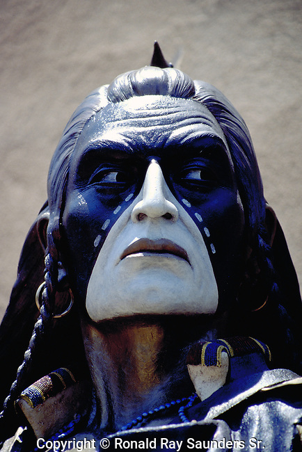 Life-sized bronze statue of Indian warrior