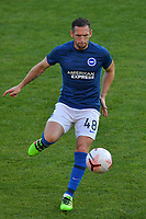 Andrew Crofts of Brighton & Hove Albion (U23s) warms up before the EFL Trophy behind closed doors match between Leyton Orient and Brighton & Hove Albion Under 21s at the Matchroom Stadium, London, England played without supporters able to attend due to ongoing covid-19 government guidelines on 8 September 2020. Photo by Vince  Mignott.