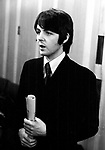 The Beatles 1968 Paul McCartney at a press conference at the Royal Garden Hotel, London  to publicise the Leicester Arts Festival..........