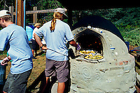 5th Annual Garlic Festival, August 2013 (hosted by The Sharing Farm) at Terra Nova Rural Park, Richmond, BC, British Columbia, Canada - Garlic Bread baked in the Outdoor Cob Oven