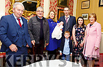 Baby Aisling O'Connor with her parents  Orla & David O'Connor, Kilflynn and brother Dylans and god parents Jim O'Connor, Martin Coolney, Kate Coolney & Kay O'Connor who was christened in St Mary's Church, Kilflynn by Deacon Francis White and afterwards at the Listowel Arms Hotel.