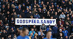 Rangers fans message for Sandy Jardine in the 2nd minute