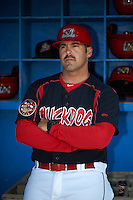 Batavia Muckdogs coach Steven Suarez (7) poses for a photo before a game against the Auburn Doubledays July 10, 2015 at Dwyer Stadium in Batavia, New York.  Auburn defeated Batavia 13-1.  (Mike Janes/Four Seam Images)
