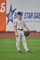 Brett Stephens (37) of the Grand Junction Rockies on defense against the Ogden Raptors at Lindquist Field on September 6, 2017 in Ogden, Utah. Ogden defeated Grand Junction 11-7. (Stephen Smith/Four Seam Images)