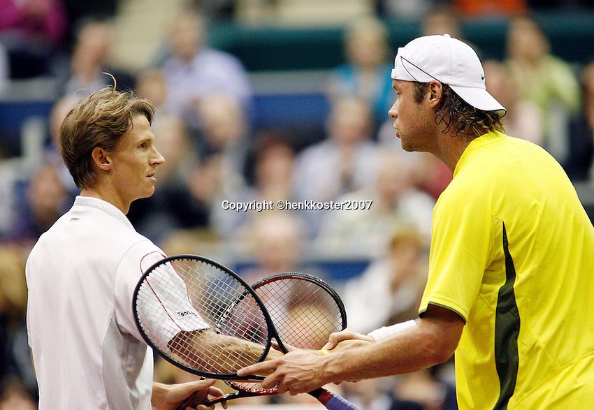 21-2-07,Tennis,Netherlands,Rotterdam,ABNAMROWTT, Martin Verkerk congratulates Rik de Voest with his victory