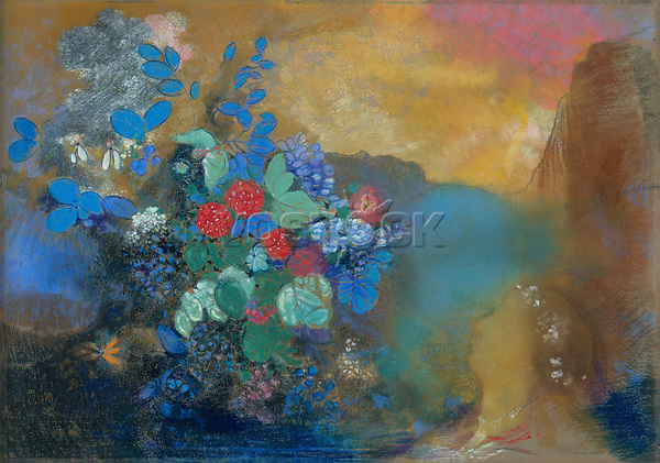 Full title: Ophelia among the Flowers<br /> Artist: Odilon Redon<br /> Date made: about 1905-8<br /> The National Gallery, London