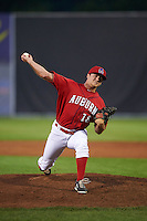 Auburn Doubledays pitcher Adam Boghosian (18) delivers a pitch during a game against the State College Spikes on July 6, 2015 at Falcon Park in Auburn, New York.  State College defeated Auburn 9-7.  (Mike Janes/Four Seam Images)
